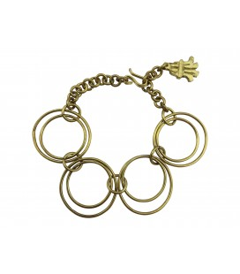 Soldered rings brass bracelet