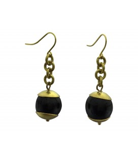 Brass cups and black pearls earrings