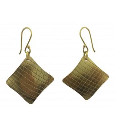 Rhombus brass earrings