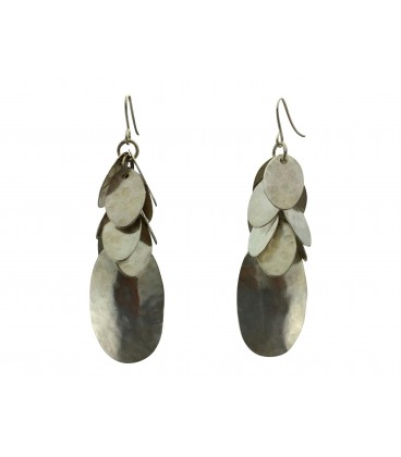 Oval discs silver plated earrings