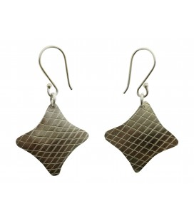 Rhombus silver palted earrings