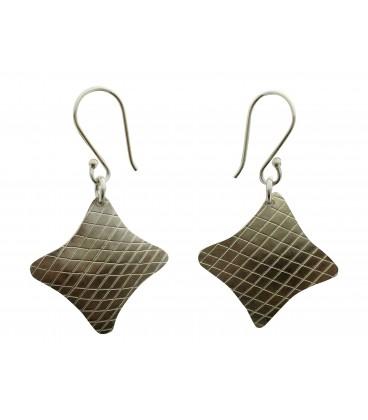 Rhombus silver palted earrings