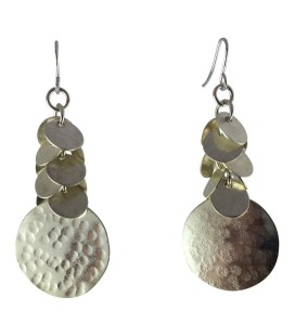 Round discs silver plated earrings