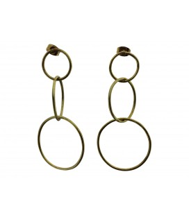 Joined brass rings earrings
