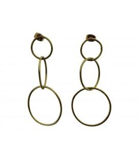 Joined brass rings earrings