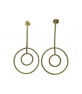 Fixed full moons brass earrings