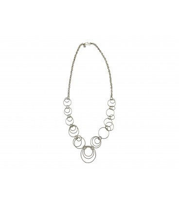 Soldered rings silver plated necklace