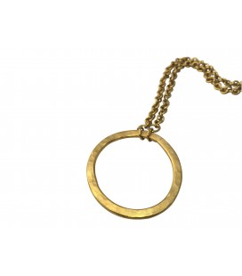 Endless brass circle necklace