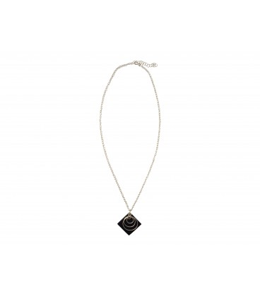 Three silver plated rings on a black piece necklace