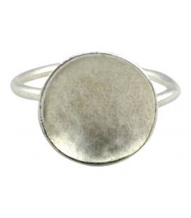 Disc silver plated ring
