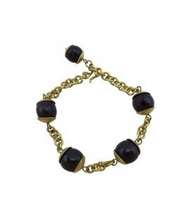 Brass cups & black pearl bracelet