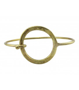 Flat hammered round brass bangle