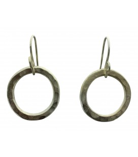 Endless silver plated circle earrings
