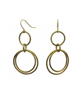Soldered rings brass earrings