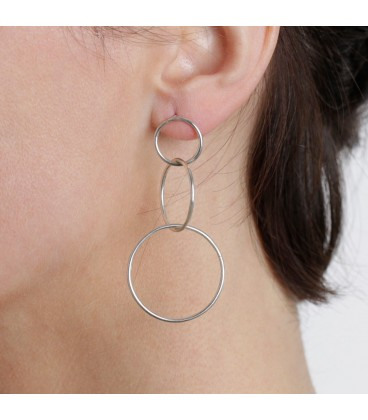 Joined silver plated rings earrings