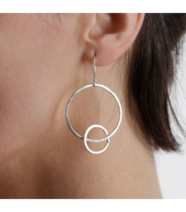 Big and smal full moon silver plated earrings